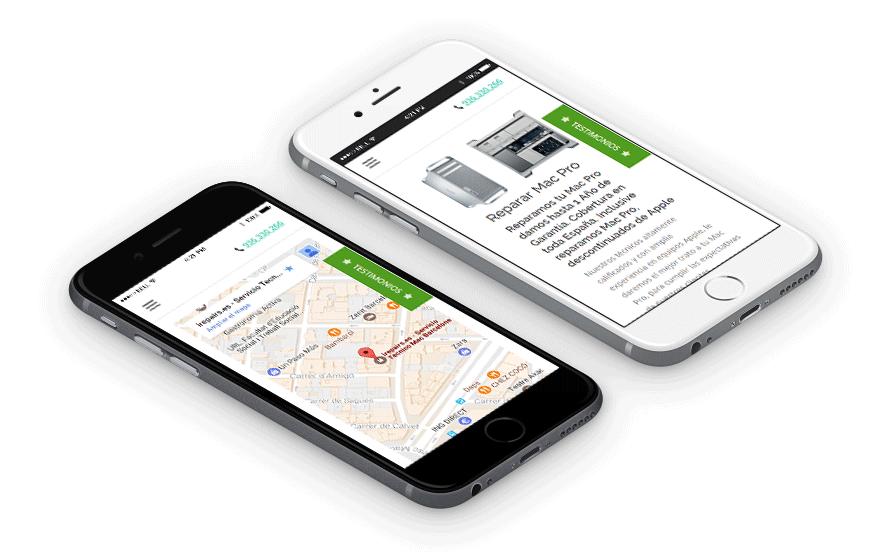Diseño web responsive para móvil Irepairs