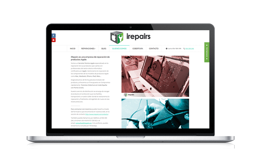 Diseño web para pymes Irepairs