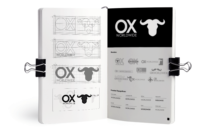 Bocetos para el logotipo de Ox Worldwide