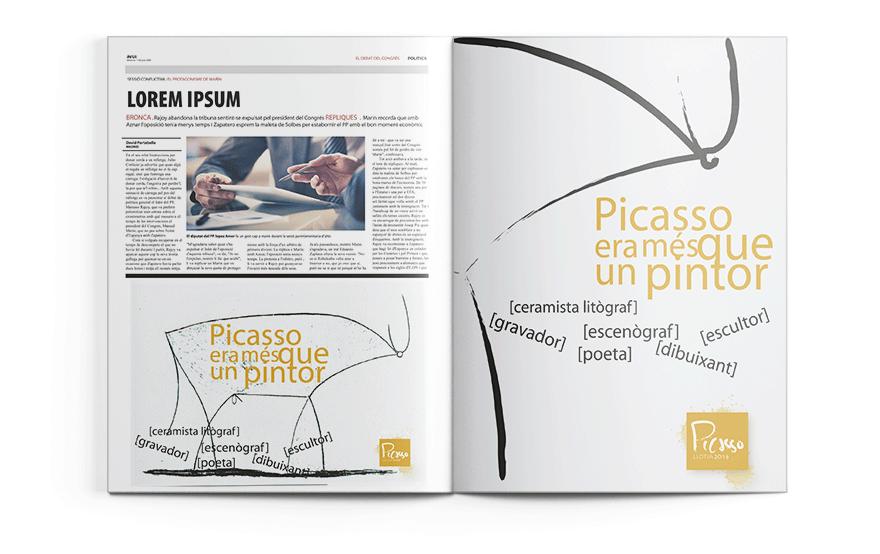 Diseño de anuncio para revista Picasso Llotja