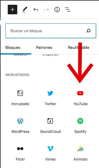 opciones de incrustación de videos en wordpress